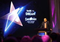 Ron Huldai, Mayor of Tel Aviv-Yafo, speaks during the Eurovision Semi-Final allocation draw