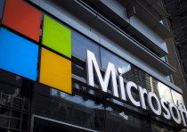 File photo of a Microsoft logo on an office building in New York