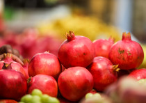 Pomegranates seen piled up at Machane Yehuda market, just in time for Rosh Hashana.