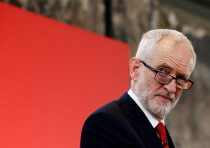 Britain's opposition Labour Party leader Jeremy Corbyn reacts at a launch event for the Labour party
