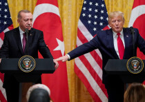 U.S. President Donald Trump and Turkey's President Tayyip Erdogan hold a joint news conference