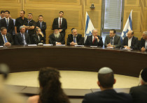 Prime Minister Benjamin Netanyahu at the right-wing bloc faction meeting at the Knesset