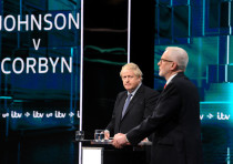 Conservative leader Boris Johnson and Labour leader Jeremy Corbyn are seen during a televised debate