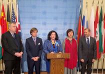 European ambassadors to the United Nations Security Council (L-R) Jurgen Schulz, German Deputy Ambas