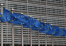 European Union flags fly near the European Commission headquarters in Brussels, Belgium, October 4,