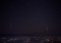 A Geminids meteor shower is seen above the mountain range in Nagarkot. 2017