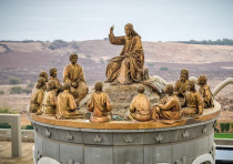 The statue of Jesus and the 12 Apostles on the Mount of Beatitudes in the Galilee