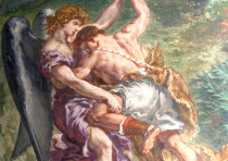 'JACOB WRESTLING with the Angel,' fresco of Eugène Delacroix.