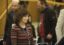 Larissa Trembovler Amir, wife of Yitzhak Rabin's assassin Yigal Amir, registers her Fair Trial Party