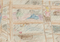 'Children's home' was drawn by Helga Weissova, who was sent to Terezin at age 12 and is now lives in