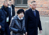 Poland's President Andrzej Duda and Zofia Optulowicz, daughter of Polish cavalry captain and World W