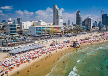 An aerial shot of a Tel Aviv beach