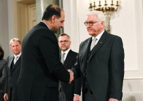 Federal President Frank-Walter Steinmeier welcomes ambassador of Iran to Germany Mahmoud Farazandeh,