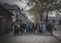 A group of American youths led by Jonny Lipczer at Auschwitz