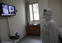 An employee at Sheba Medical Center at Tel Hashomer testing the special area where the Israelis who