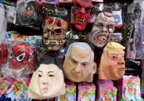A BRILLIANT future: Purim masks on sale at Jerusalem's Mahaneh Yehuda marke
