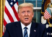 U.S. President Donald Trump speaks about the U.S response to the COVID-19 coronavirus pandemic durin