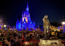General view of a farewell event at Disney World on the final night before closure due to coronaviru