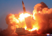 A suspected missile is fired, in this image released by North Korea's Korean Central News Agency (KC