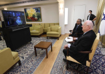 President Reuven Rivlin speaks with Sephardi Chief Rabbi of Jerusalem Shlomo Moshe Amar, who is acti
