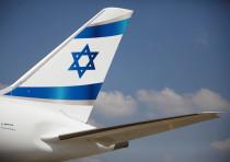 An Israeli flag is seen on the first of Israel's El Al Airlines order of 16 Boeing 787-9 Dreamliners