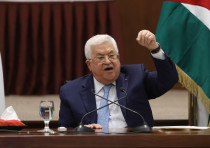Palestinian President Mahmoud Abbas speaks during a leadership meeting in Ramallah, in the Israeli-o