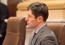 Minneapolis Mayor Jacob Frey listens to the first organizing meeting of the Minneapolis City Council