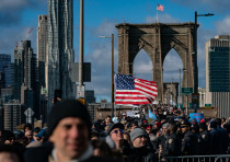 Participants in a Jewish solidarity march across New York City's Brooklyn Bridge, Jan. 5, 2020. The