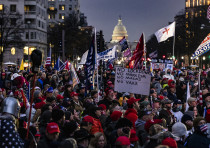 Supporters of President Donald Trump gather for a rally at Freedom Plaza in Washington, DC on Januar