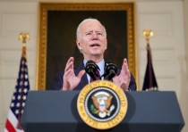US President Joe Biden delivers remarks in the State Dining Room at the White House in Washington, U