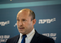 Head of the Yamina party Naftali Bennett gives a press conference at the Knesset, the Israeli parlia