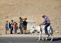 A Palestinian man riding a donkey passes a Jewish family in the Jordan Valley this week.