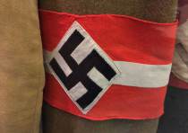 A Nazi armband with a swastika displayed in the Deutsches Historisches Museum, Berlin, Germany
