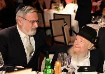 Rabbi Sacks with Rabbi Steinsaltz at a gala dinner on June 10, 2018, to celebrate the latter's 80th