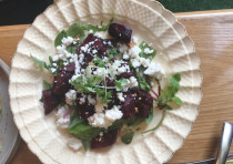 Roasted beetroot cubes interspersed with a mildly salty feta-like crumbly cheese