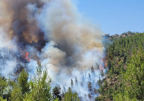 A wildfire rages near Jerusalem on Tuesday, August 3, 2021.
