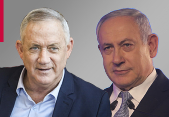 (L-R) Benny Gantz and Benjamin Netanyahu
