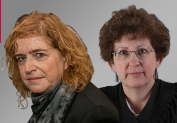 (L-R) Liat Ben Ari and Rivka Feldman (Photo credit: Flash 90 / Israel Judicial Authority)