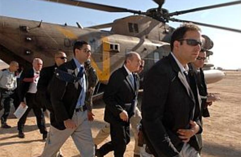 olmert leaves chopper298 (photo credit: GPO)