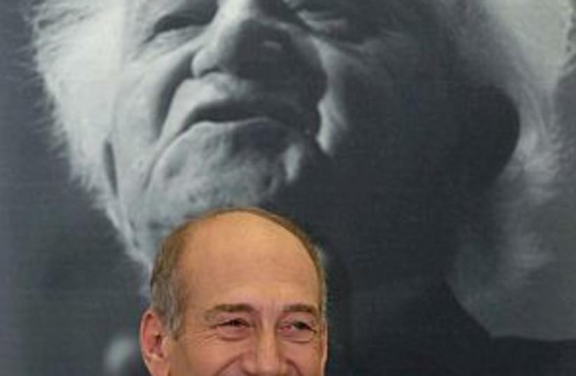 Olmert happy 298.88 (photo credit: AP [file])