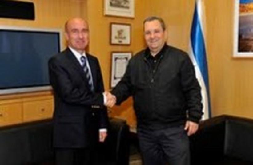 Barak and Turkish DM 248x88 (photo credit: Defense Ministry )