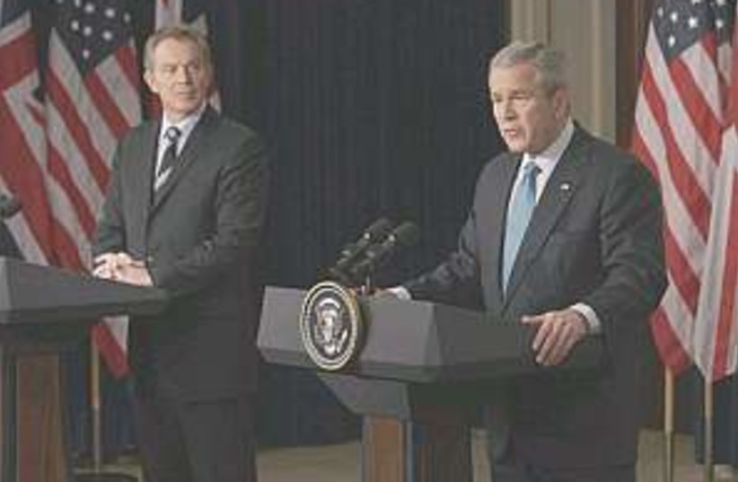Bush blair 298.88 (photo credit: AP)