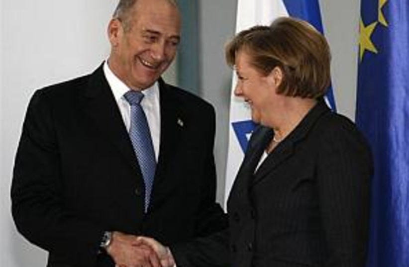 Olmert-Merkel 298.88 (photo credit: AP)