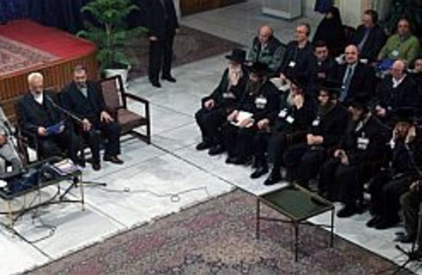 ahmadinejad and rabbis a (photo credit: AP [file])