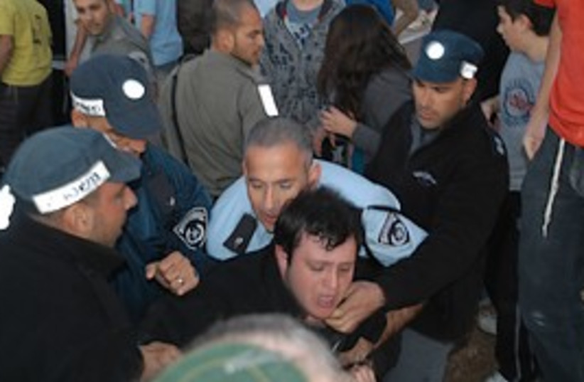settlers border police clash tzofim 298. (photo credit: Courtesy of the Council of Samaria Settlers)