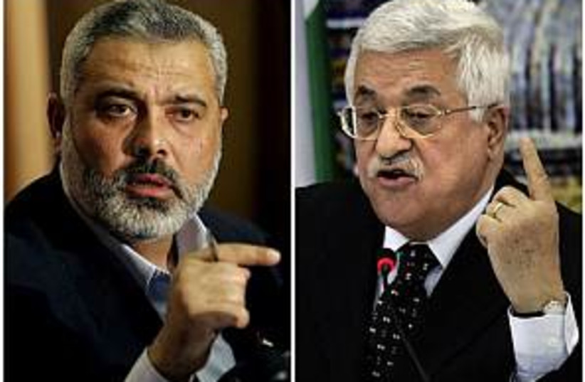 haniyeh vs. abbas 298 (photo credit: AP)