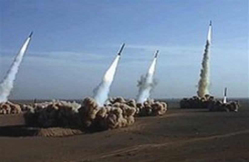 Missiles launched from the Iranian desert.  (photo credit: AP)