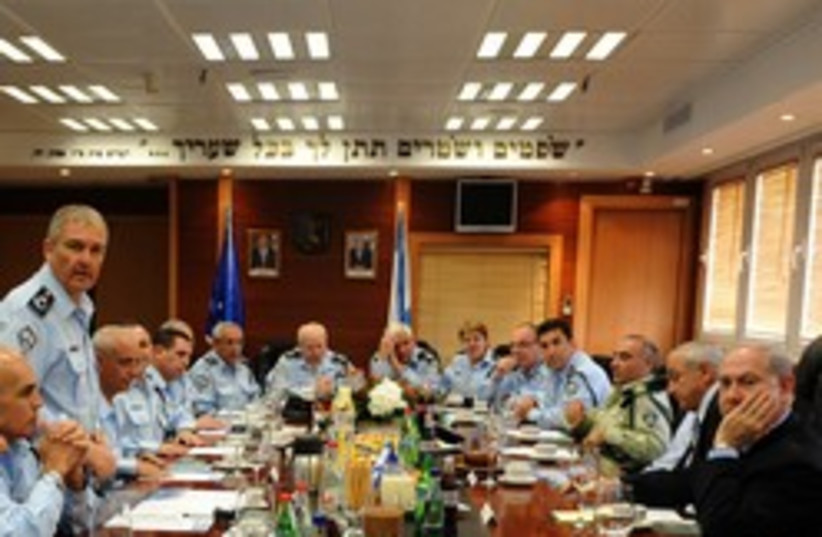 netanyahu at police hq 248.88 (photo credit: GPO)