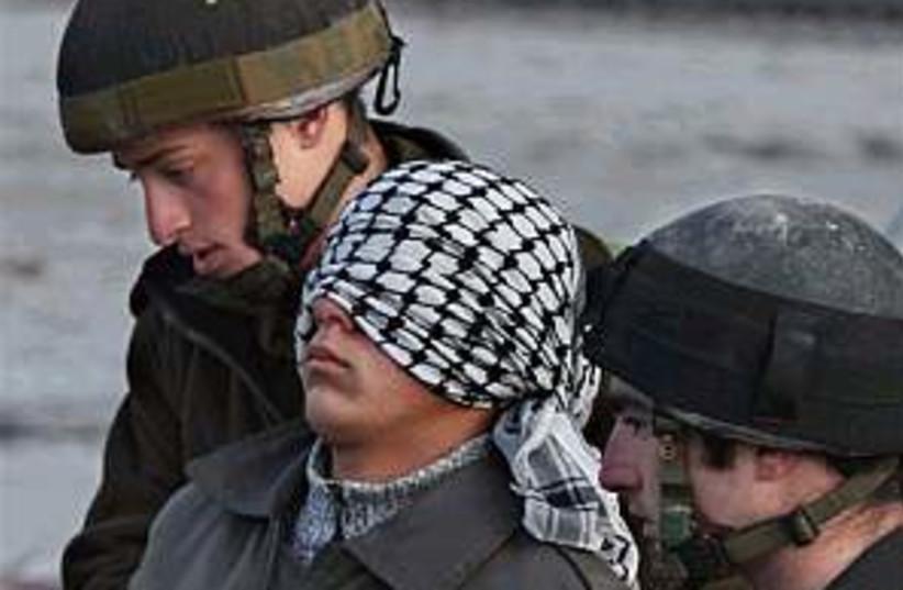 palestinian IDF arrest (photo credit: AP)