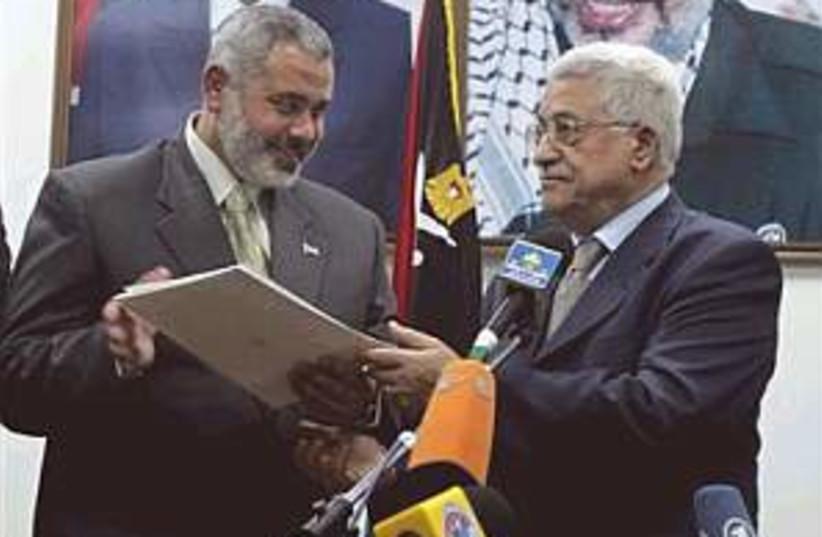 Abbas Haniyeh deal 298.8 (photo credit: AP [file])